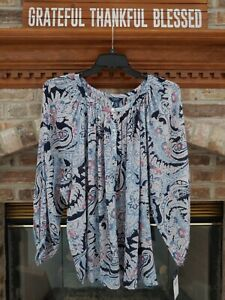 Chaps by Ralph Lauren Sz. 1X Navy Paisley/Floral Long Sleeve Blouse NWT