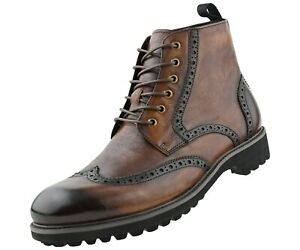 Genuine Leather Mens Lace Up Boots, Wingtip Boots for Men, Fashion Boots