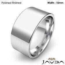 Wedding Band Comfort Fit Pipe Cut Ring Women 10mm 18k White Gold 13.3g Sz 7-7.75