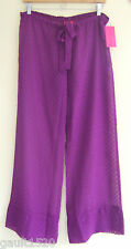 NWT Betsey Johnson Sexy Sheer Swim Cover Up Purple Polka Dot Lounge Pants S $94
