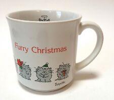 Sandra Boynton Furry Christmas Coffee Mug Cup Cats Angel Santa Hat Gift 11 Oz