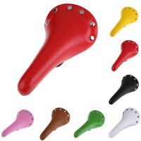 Retro Riveted PU Leather Bicycle Saddle Road Bike Vintage Seat Cycling Hot