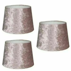 "Blush Pink Crushed Velvet Effect Light Lamp Shade Dual Purpose Shade 9"",11"",13"""