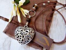 Lagenlook Long Suede Necklace With Large Love Heart & Murano bead Boho Bijoux