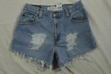 "Womens 28"" Zipper Fly Levi Cut Off Denim Shorts Jeans Distressed Boyfriend"
