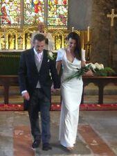 Scoop Neck Short Sleeve Column/Sheath Wedding Dresses
