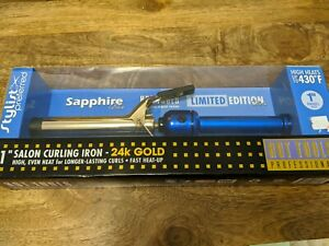 "NEW Hot Tools Professional curling iron 1""sapphire blue Limited Edition 24 Gold"