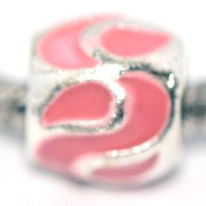 1PC Pink Bead Charm Silver Fit Eupropean Chain Bracelet Making Jewelry DIY