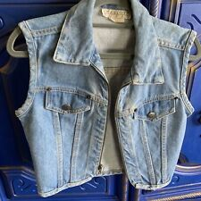 Vintage Charlotte Russe Planet Jeans Denim Zip Vest Made In USA Sz Small