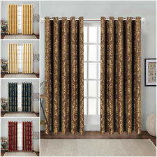 Pair of Jacquard Curtains Fully Lined Ready Made Ring Top Semi Blackout Curtains
