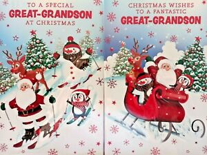 GREAT~GRANDSON CHRISTMAS CARD  ~ CHOICE OF 2 SANTA DESIGNS ~ QUALITY CARD