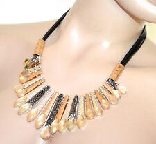 COLLAR mujer gargantilla oro rosa plata colgantes cristales hilos negros G65