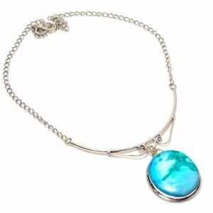 "Tibetan Turquoise Handmade Gemstone Ethnic Gift Jewelry Necklace 18"" RL-21926"