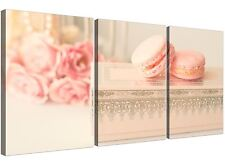 Pink Cream French Shabby Chic Bedroom Abstract Canvas Multi 3 Piece - 3284