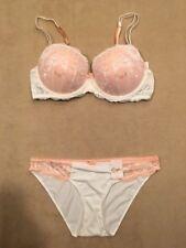 Candies *Bra Set* Ivory & Peach Balconette Push Up 38D Bra & Large Bikini Panty