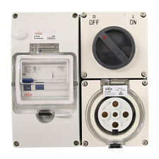 5 pin 32 Amp RCD PROTECTED - Switched Socket Outlet IP66 INDUSTRIAL 3 PHASE