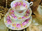 ROYAL ALBERT TEA CUP AND SAUCER TRIO 6 1/4~Serena~ pink roses & floral GOLD 1942