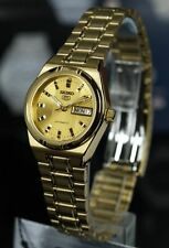 Seiko 5 Classic Ladies Size Gold Dial Gold Plated Stainless Steel Strap Watch