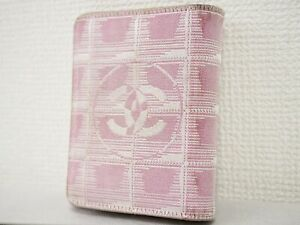 Chanel New Travel Line tri-fold wallet purse pink Authentic woman #4623P