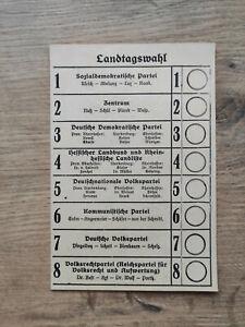 Stimmzettel Wahlschein aus dem Deutschen Reich Hessen Dachbodenfund Nachlass