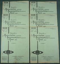 BULLETIN ASSOCIATION ASTRONOMIQUE DU NORD - 1938 COMPLET 6 N° - ASTRONOMIE LILLE