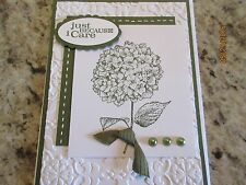 Sympathy Greeting Card Hydrangea Just because I care - using Stampin Up products