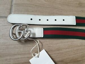 Gucci Kids GG silver logo white leather web elastic belt SOLD OUT! Size M NEW