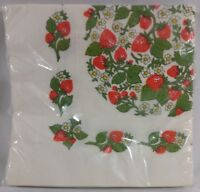 Vintage C A Reed Paper Party Napkins Strawberry Print Fruit Flowers