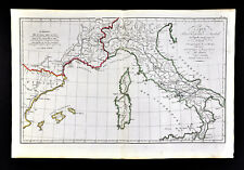 1818 D'Anville Map Ancient Roman Empire Hannibal's Route to Rome Italy France