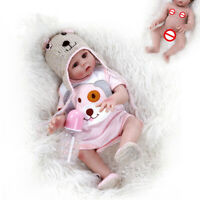 "48CM Reborn Girl Dolls Full Body Silicone 19"" Lifelike Baby Doll Bath Toy"
