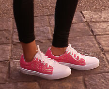 Womens Mexican Pink Embroidered Sneakers Size 10 Tennis Shoes