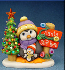 "Ceramic Bisque Ready to Paint Penguins ""Santa Stop Here!"" clip in light included"