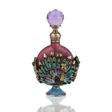 Vintage Peacock Glass Crystal Metal Perfume Bottle Empty Wedding Lady Gift 8ML