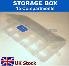 Small Storage Box , 15 Compartments, Removable Dividers, Plastic - UK Stock