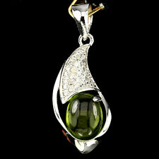 ELEGANT! NATURAL OVAL CAB 9x7mm GREEN PERIDOT &W CZ 925 SILVER PENDANT ChainFree