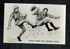 Mint WW2 France Anti Nazi Propaganda Postcard Hitler Being Kicked French Soldier