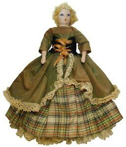 RUTH GIBBS VINT STUFFED CLTH BDY/HND PNTD FACE/PORCL'N LIMB GODEY'S FASHION DOLL