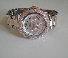 Silver/ Rose Gold Finish Designer Crystal Bracelet Chrono Style Boyfriend  Watch