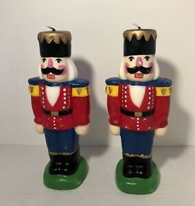 """Set Of 2 Nutcracker Wax Candle Christmas Holiday Decorations 8 1/2"""" Tall Unused"""