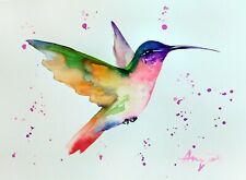 "Watercolor hummingbird original 8""x11"" bird watercolor by Anne Gorywine #1"
