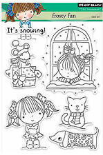 Frosty Fun Christmas Set Clear Unmounted Rubber Stamp Set PENNY BLACK 30-256 New
