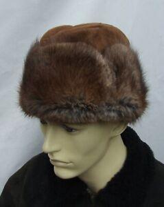 Vintage  REAL MUSKRAT / BISAM  trapper cossack fur hat size 56cm