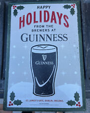 """New listing Guiness beer sign """"Happy Holidays� tin beer display man cave 20X14�"""