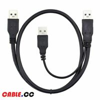 USB 3.0 Type-A Male to Dual 3.0 A Male Cable with Power Y Splitter for Hard Disk