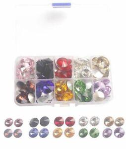 120 Mixed colors and Sizes Rhinestone Glass Rivoli Crytsal Stone USA Locations