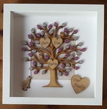Personalised Family Tree picture box frame anniversary/ Birthday/ mothers day