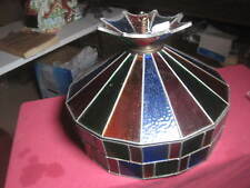 """Vtg Large Tiffany Style Slag Stained Glass Lamp Shade Classic 15 1/2"""" x 10 3/4"""""""