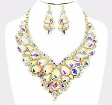 Teardrop AB Crystal Rhinestone Gold Necklace Set Evening Party Bridal Formal