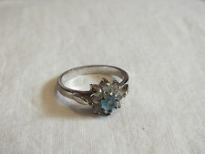 Beautiful Silver Tone Cocktail Ring Frosted White Lite Blue Rhinestones Sz 8 1/4
