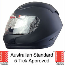 NEW FULL FACE MOTORCYCLE HELMET ADULT LARGE MATT BLACK 5 tick approved FULL